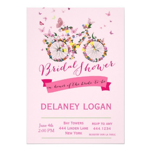 bridal shower floral bicycle invitation 256774673348673510