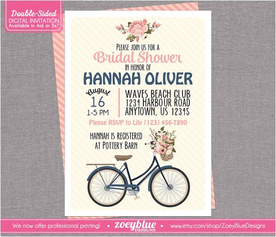 spring bicycle bridal shower invitation