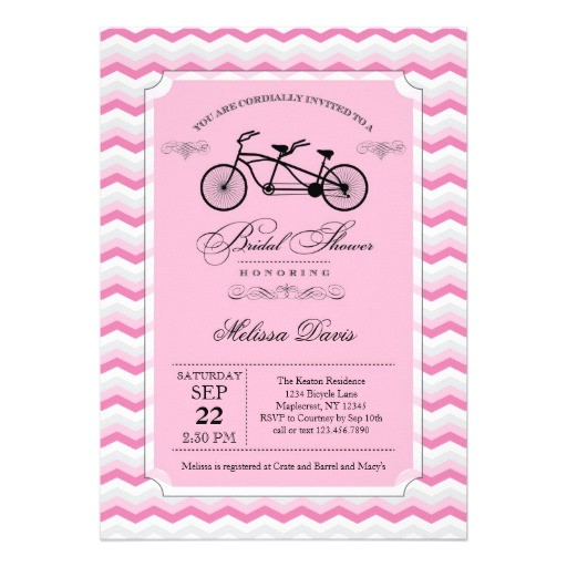 tandem bicycle bridal shower invitation 161202243036689847