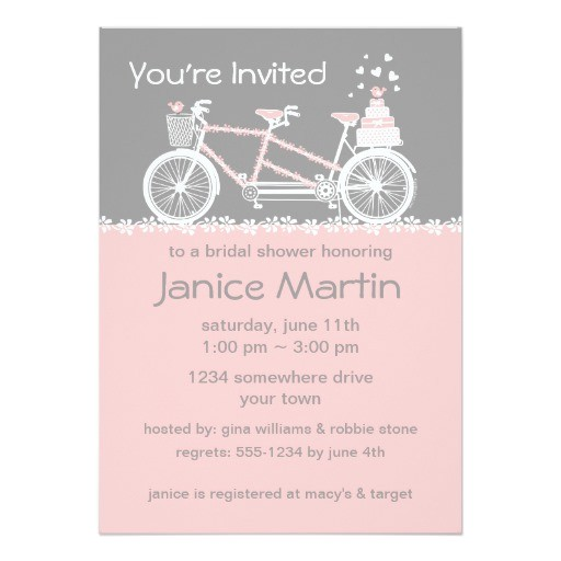 tandem bicycle wedding shower invitation 161949153921782841