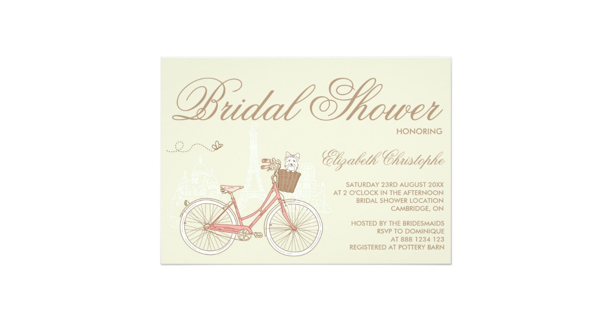 terrier on a pink bicycle bridal shower invitation 161280094286036338