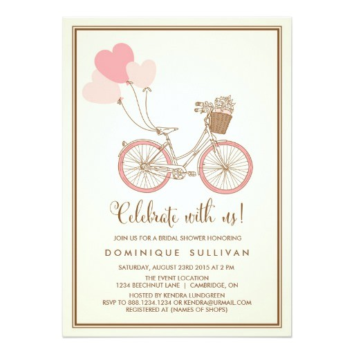 vintage pink bicycle bridal shower invitation 161338515640735592