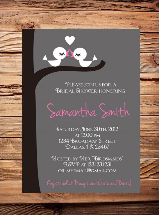 bridal shower invitationlove birds bridal or wedding shower invitationbridal shower birds in love white pink gray item 1229
