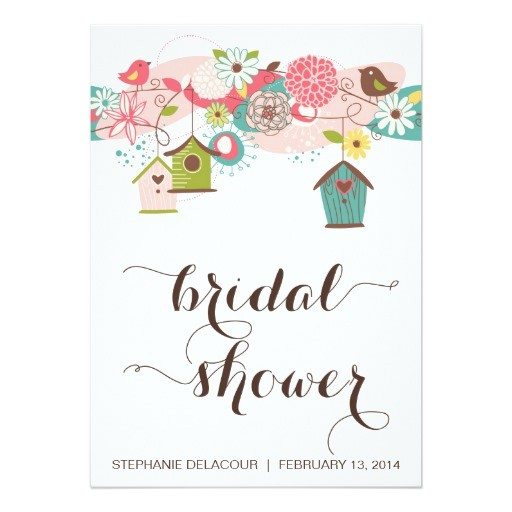 cute birds bird houses bridal shower invitation