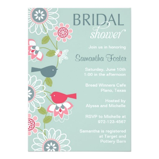 floral love bird bridal shower invitation