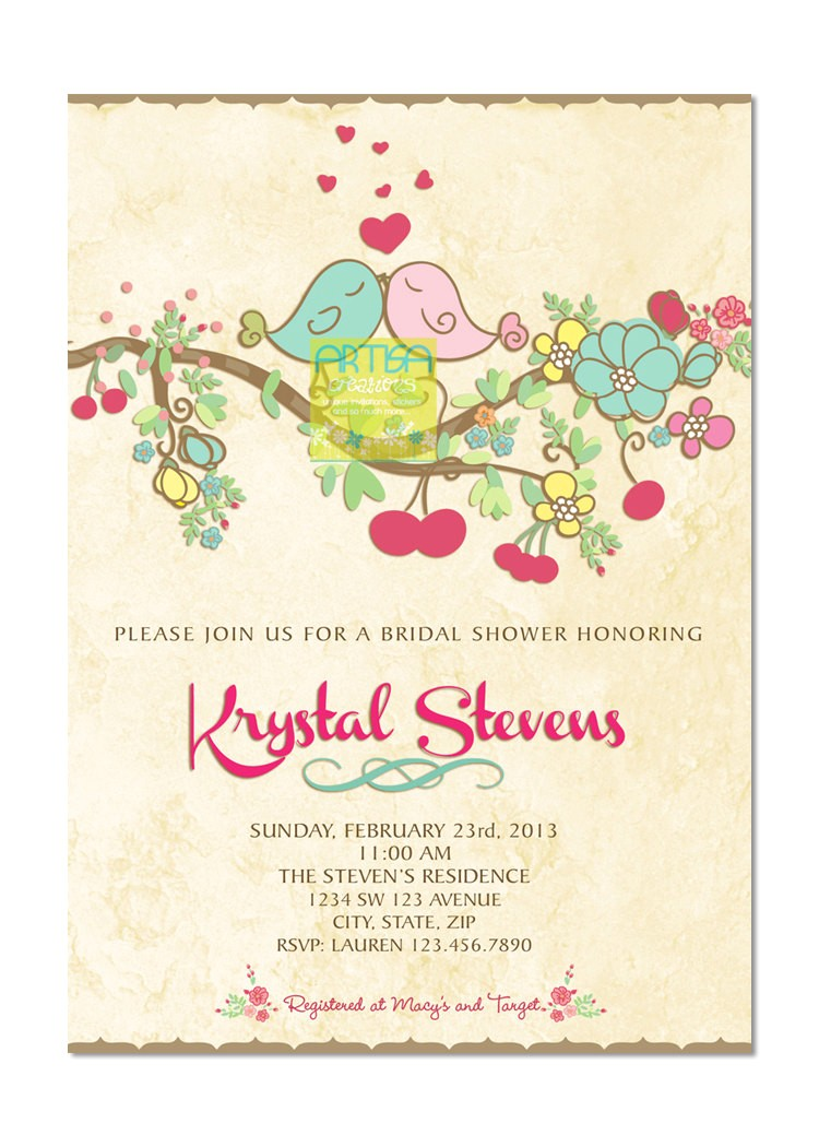 Bird Bridal Shower Invitations Love Birds Bridal Shower Invitation Spring Love Birds Bridal