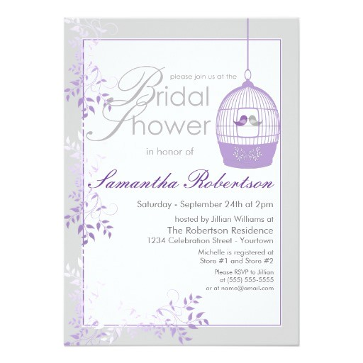 love birds lilac bridal shower invitations