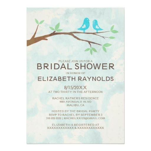 rustic blue bird bridal shower invitations