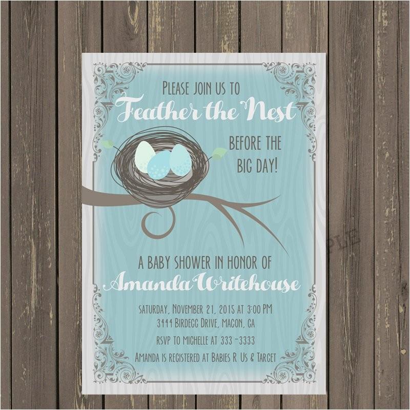 bird nest baby shower invitation feather