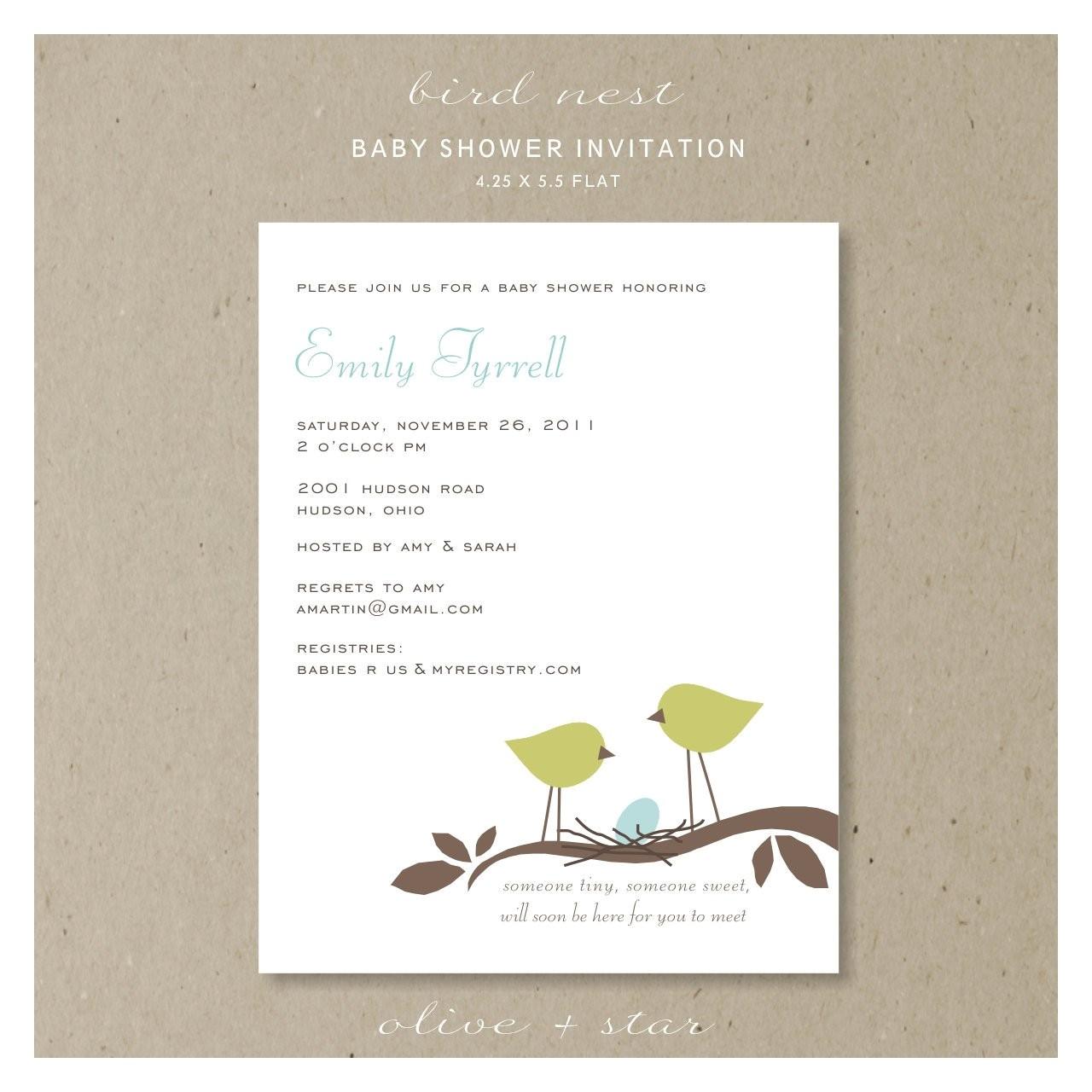 bird nest baby shower invitation set