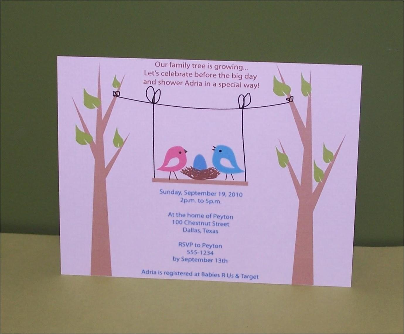birds nest baby shower invitation set of