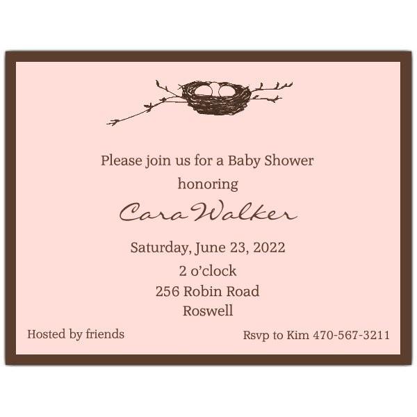 birds nest pink baby shower invitations p 603 112 pbe bs