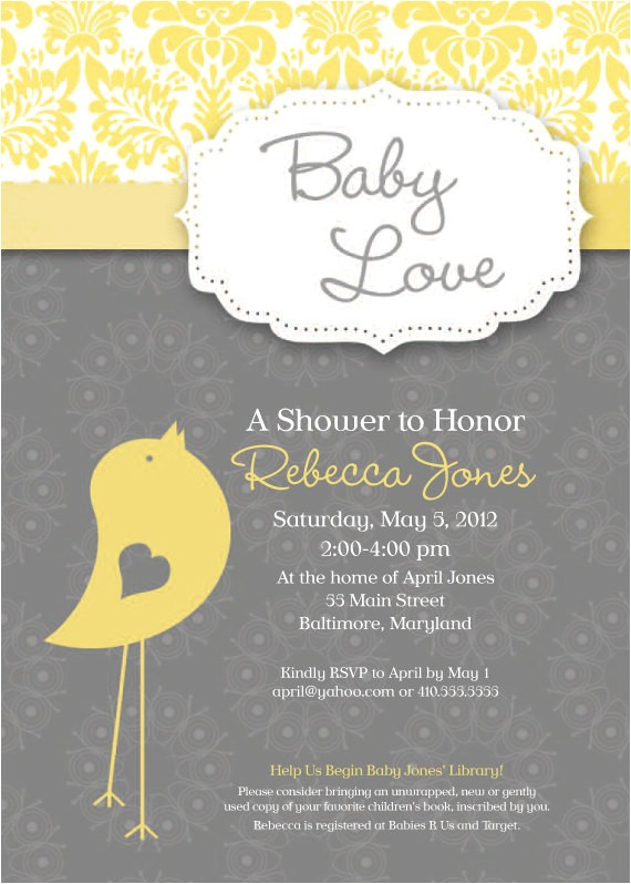 baby bird theme baby shower invitation