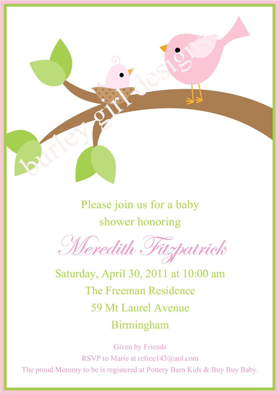 baby shower bird invitations