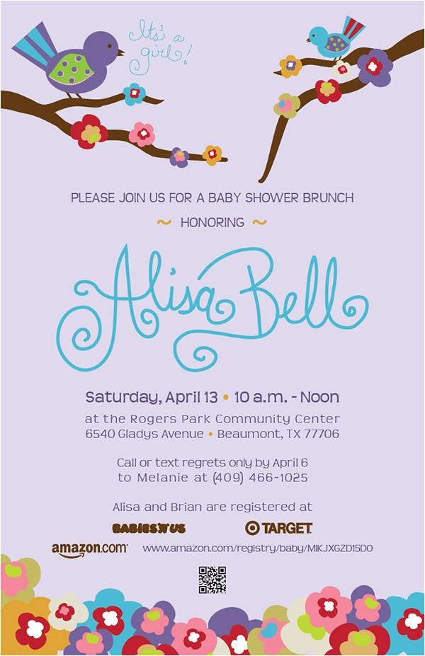 Bird Themed Baby Shower Invitation