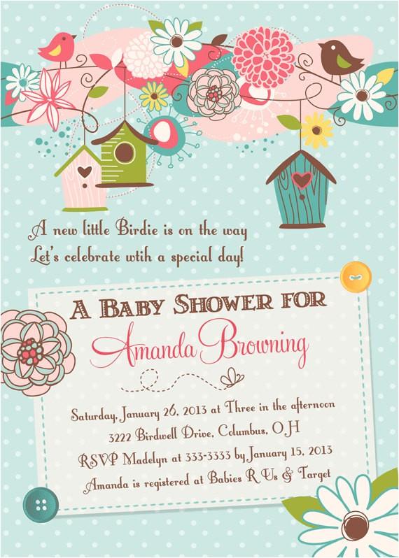 birds bird houses baby shower invitation