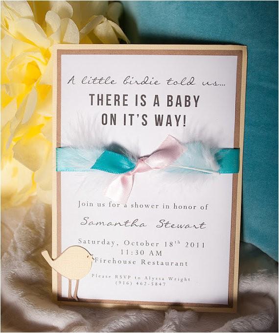 handmade baby shower invitation bird