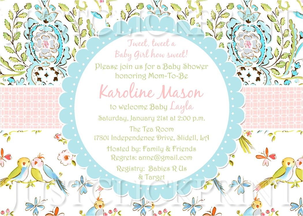 tweet little love birds baby shower invitation printable