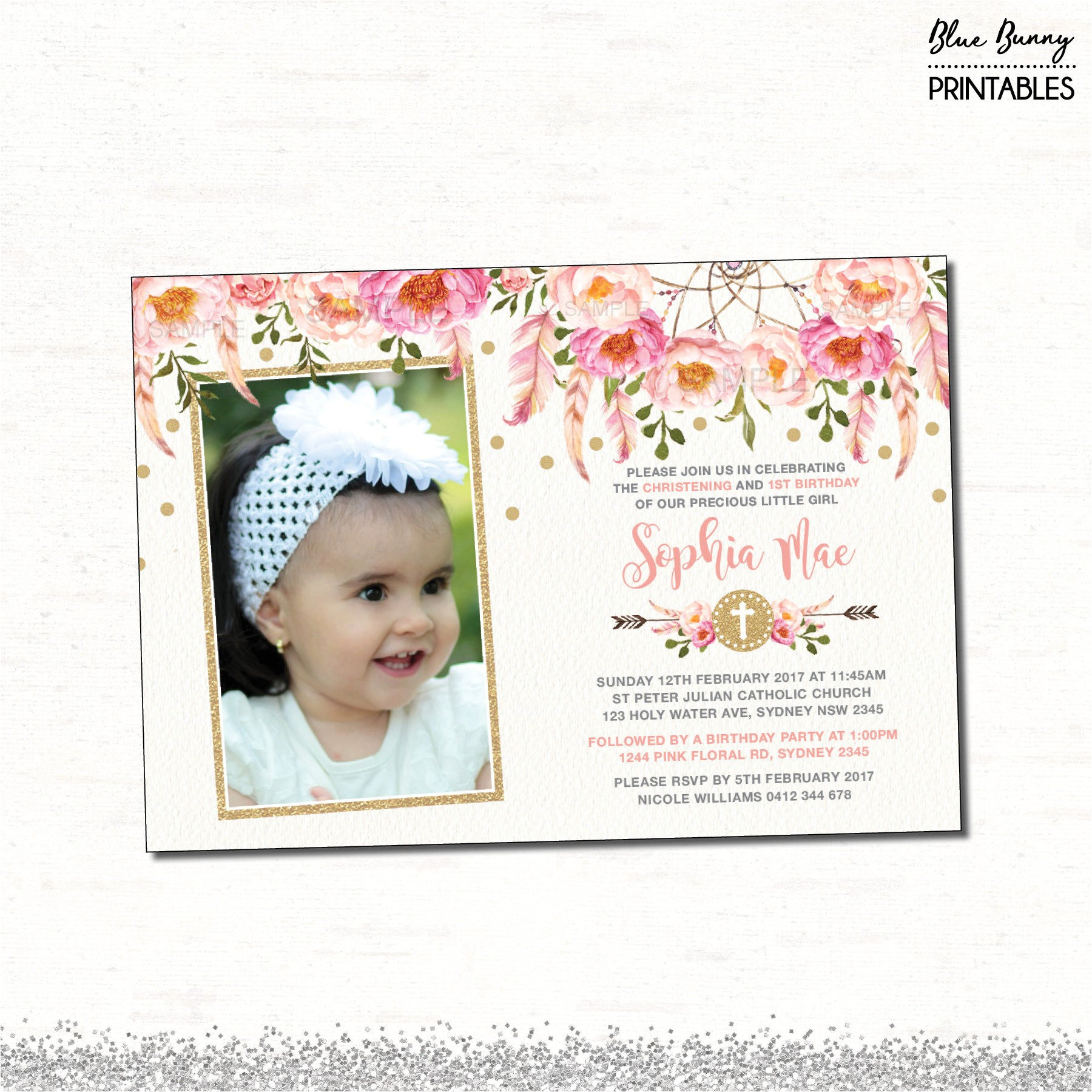 floral first birthday baptism invitation