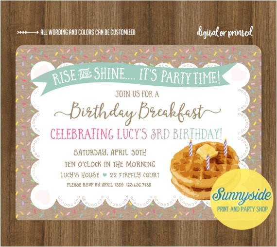 birthday breakfast party invites printed