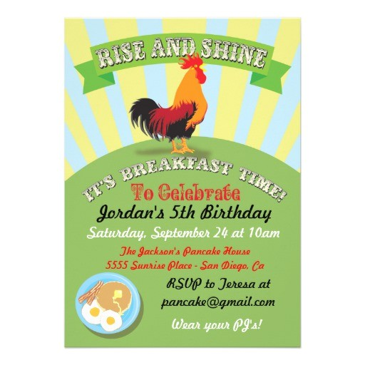 Birthday Breakfast Invitation Wording Personalized Pancakes Invitations Custominvitations4u Com