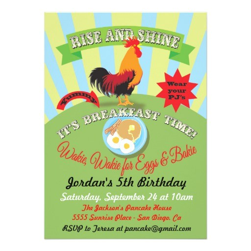 rise and shine breakfast birthday party invitation 161841068959165706