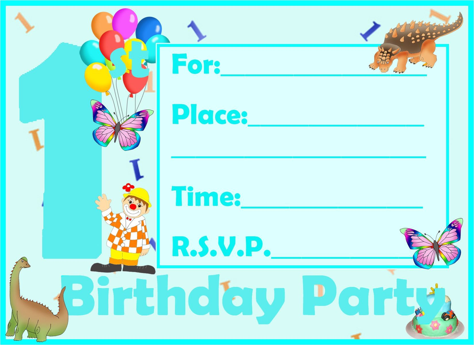 birthday invitation cards for a 1 year old