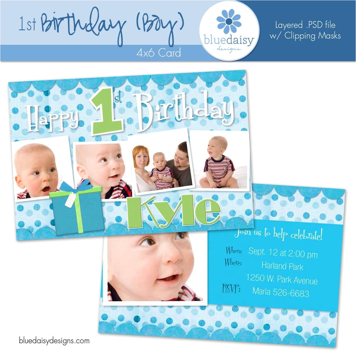 1 year old boy birthday invitation