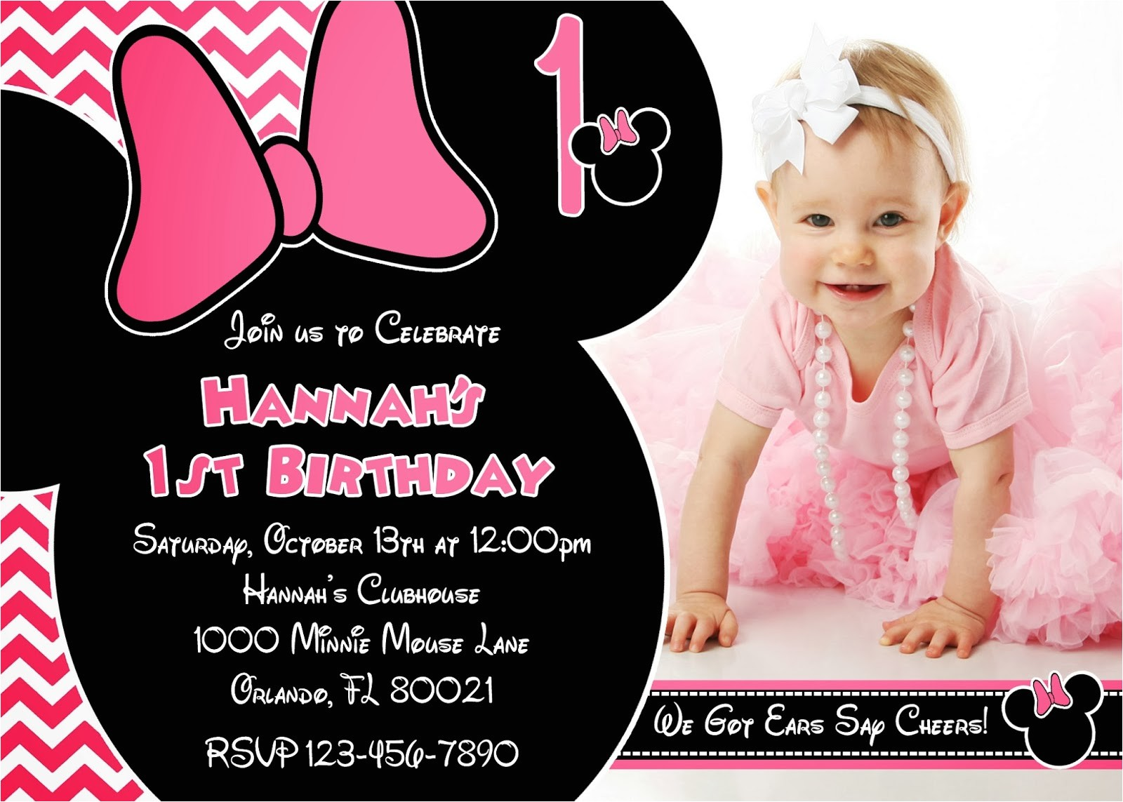one year old birthday invitation
