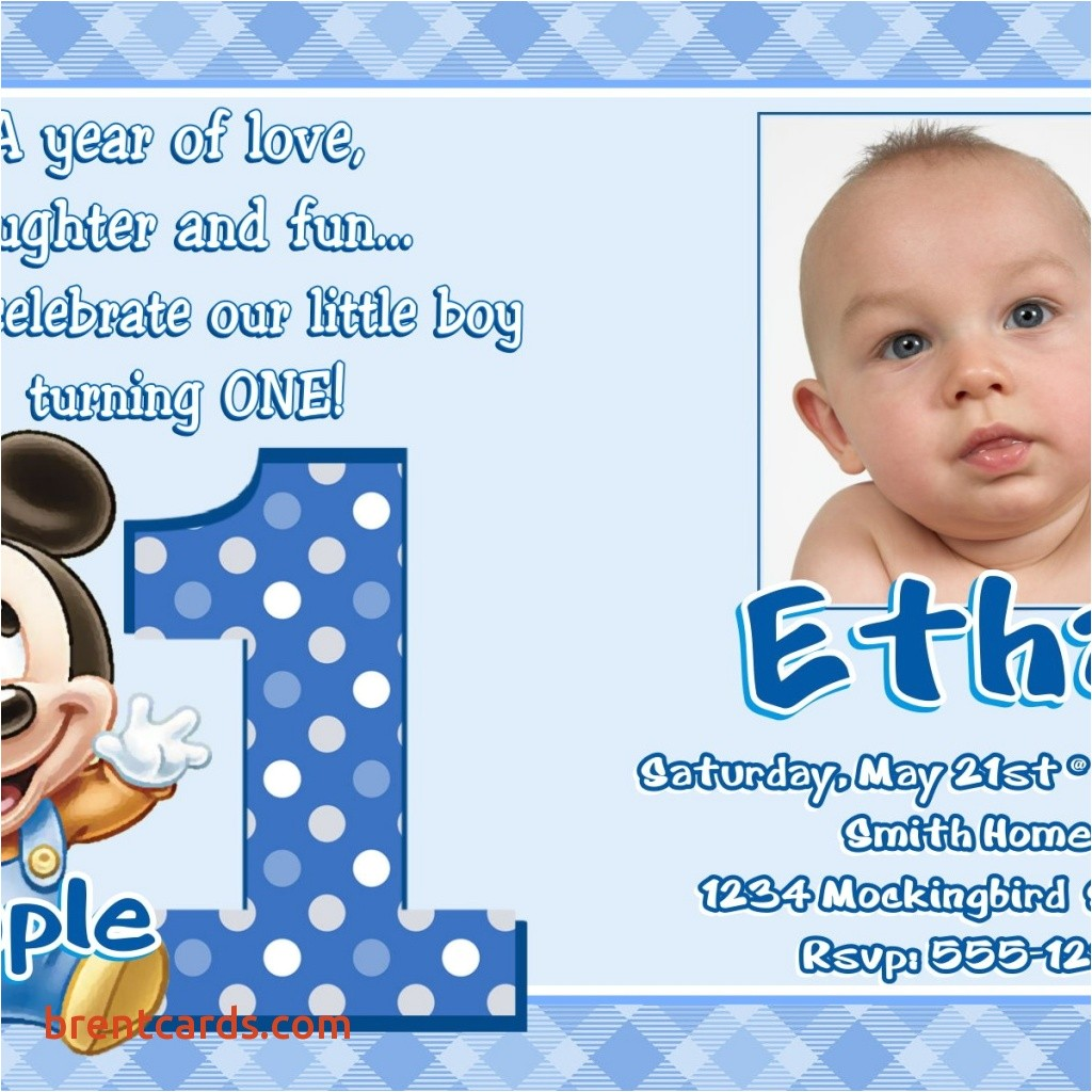 sample of birthday invitation cards 1 year old awesome jb24 baby mickey mouse 1st birthday invitations