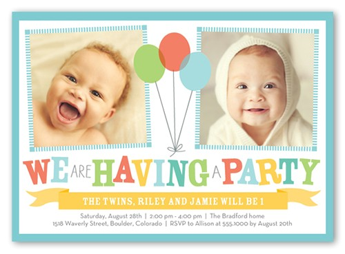 bright balloons twin birthday invitation 5x7 flat