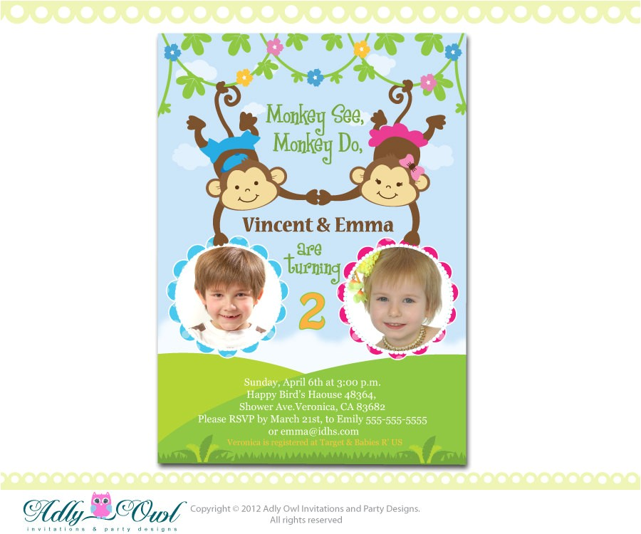 personalized twin invite second birthday