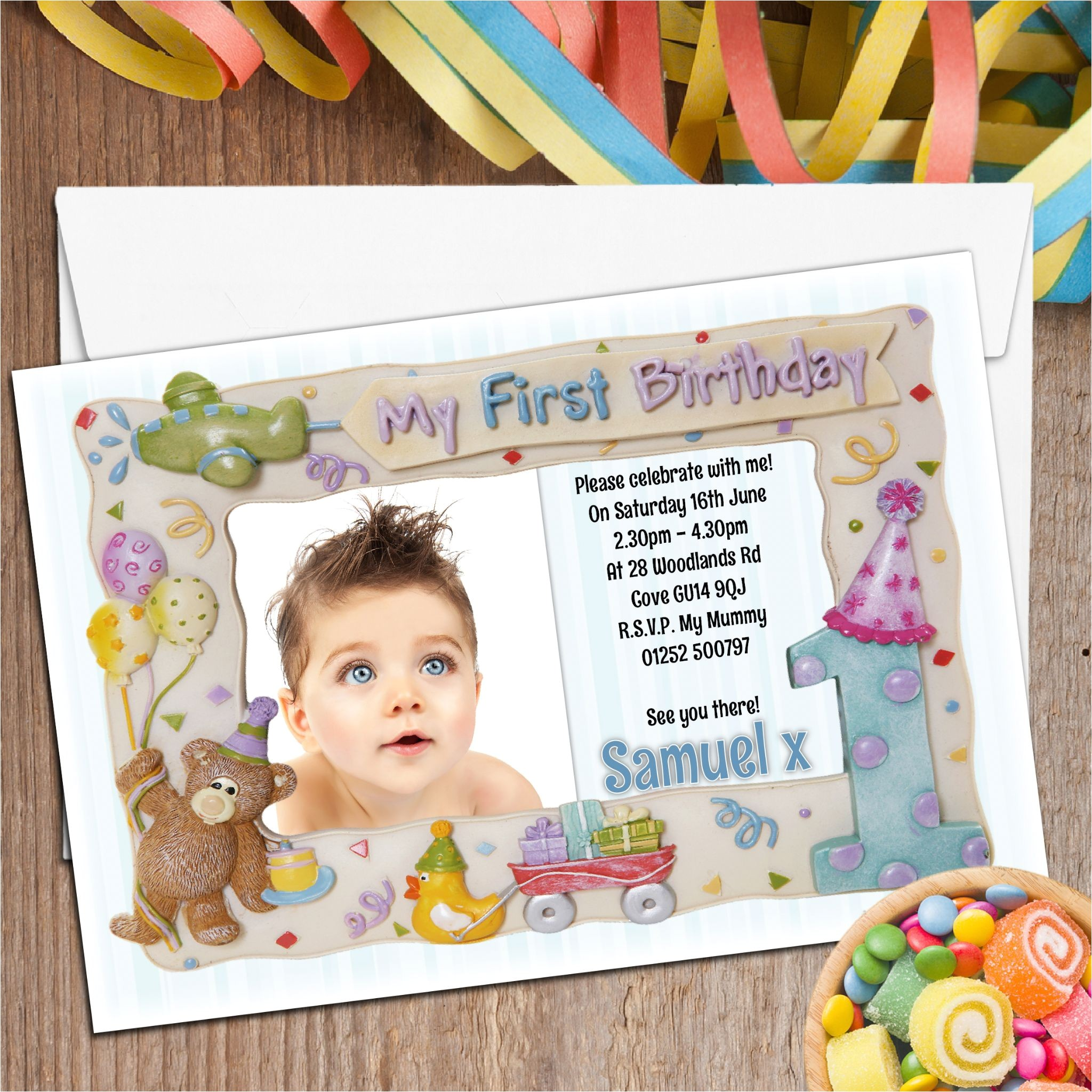 10 personalised first 1st birthday party frame photo invitations n2 196 p
