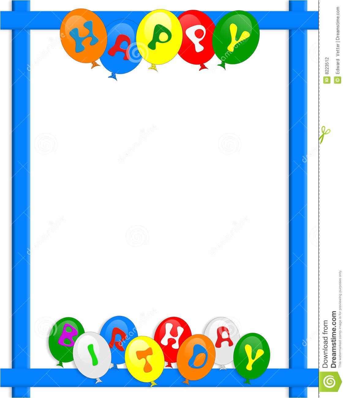 stock photography happy birthday balloons border frame image