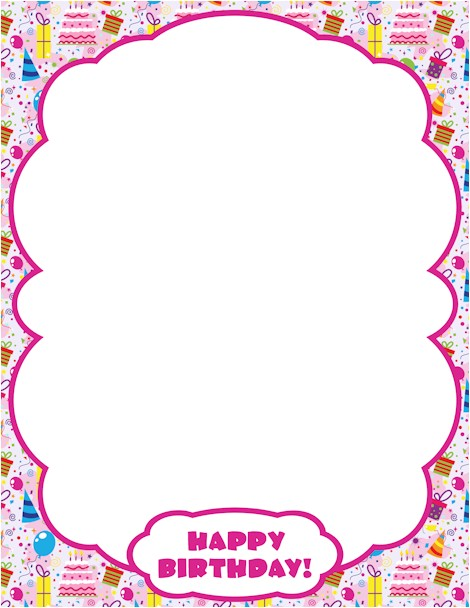 Birthday Invitation Frames and Borders Printable Happy Birthday Border Use the Border In