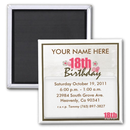 18th birthday invitation magnet 147486872452543102