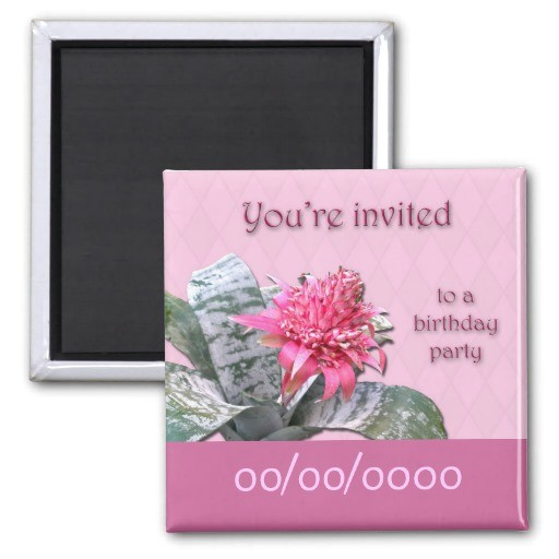 birthday party invitation save the date bromeliad magnet 147272298306839538