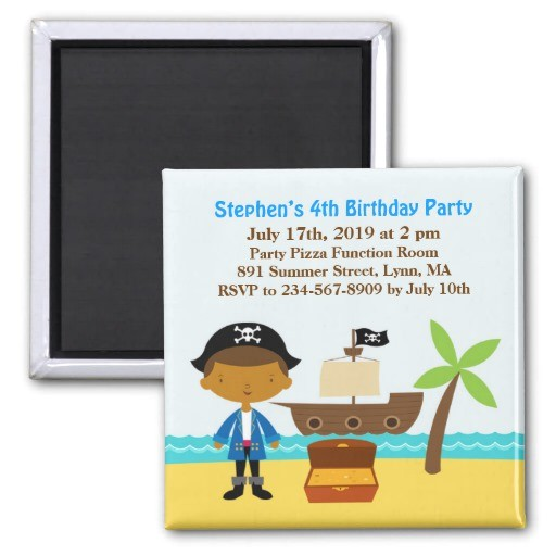 pirate birthday party invitation magnet 147379621865712231