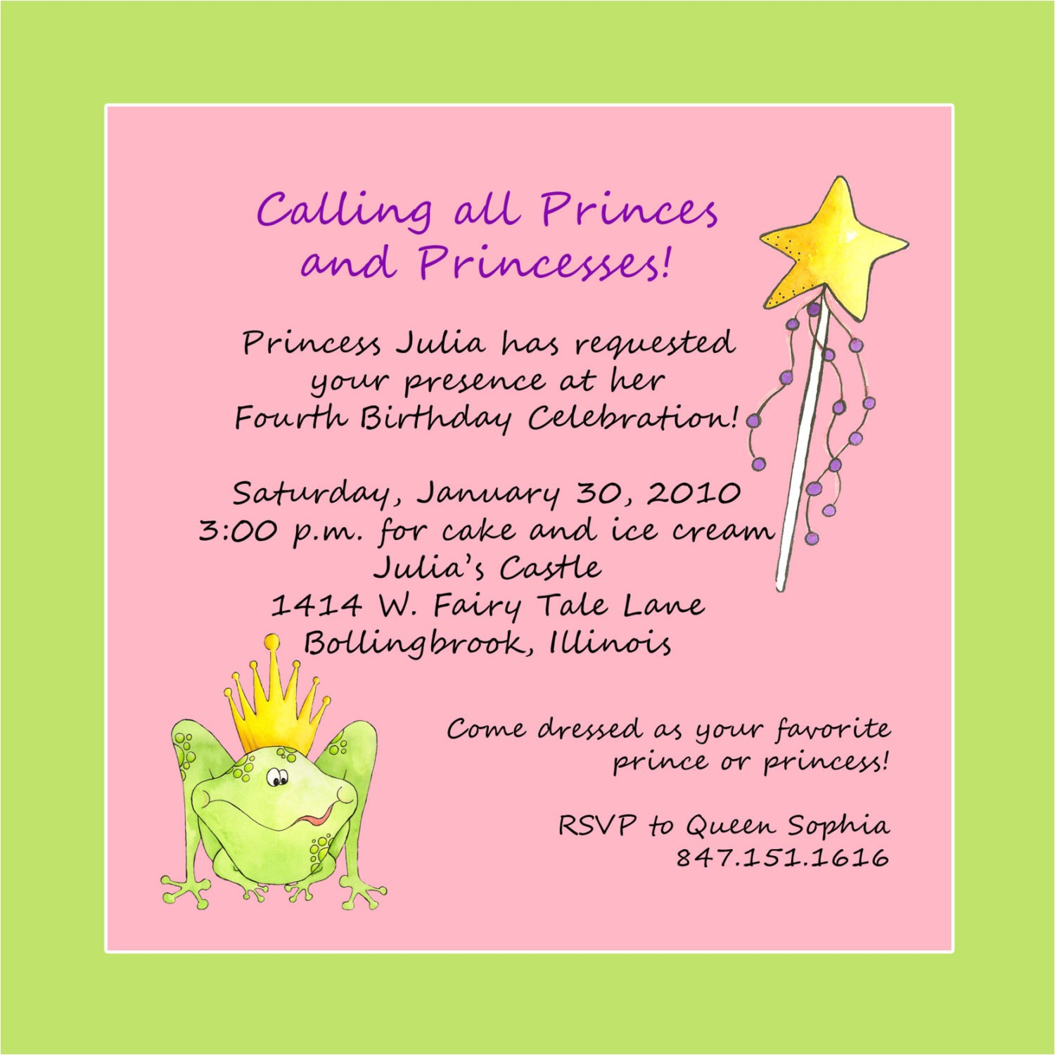princess theme birthday party invitation