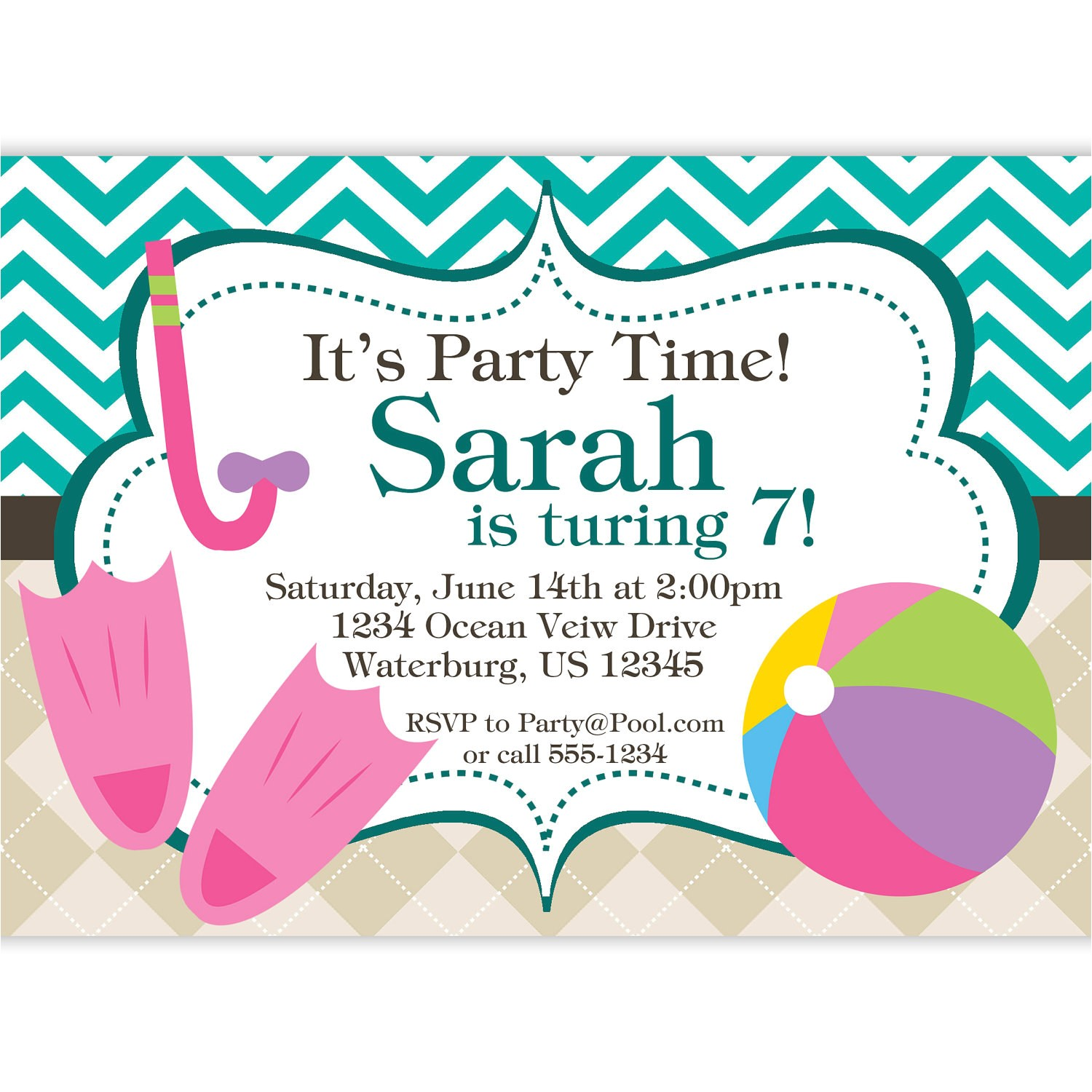 pool party invitation teal chevron and