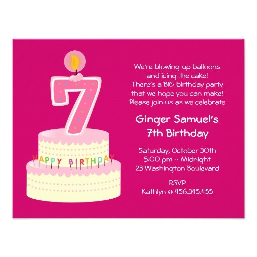 7th birthday cake invitation
