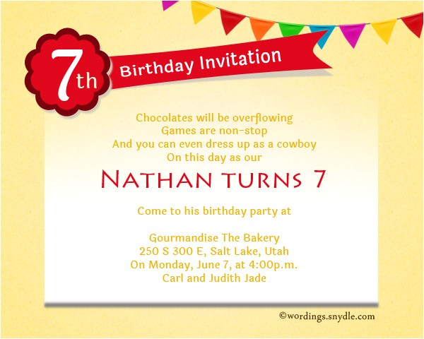 7th birthday party invitation wording