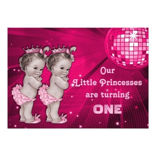 princess twins pink disco ball 1st birthday invitation