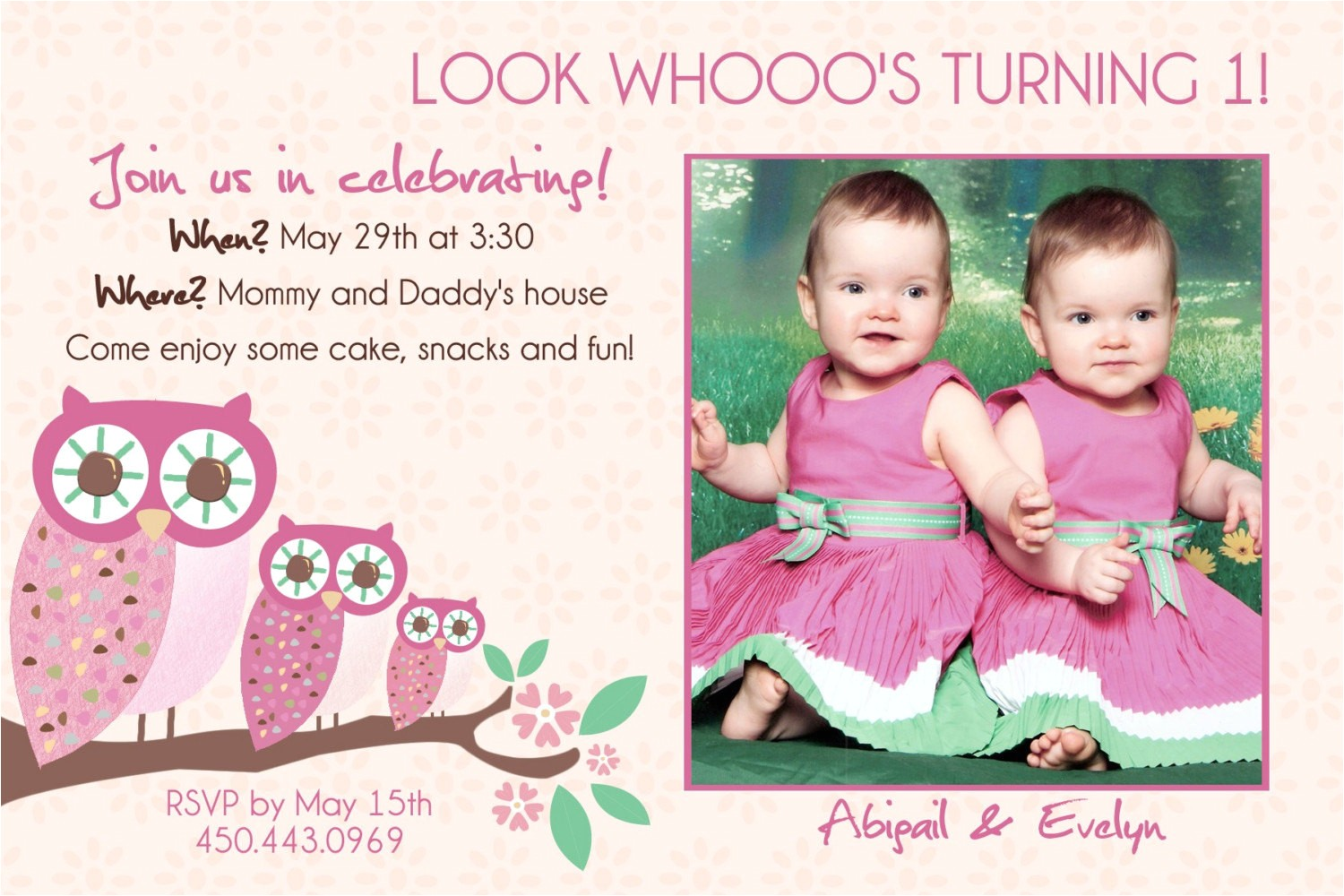 Birthday Invitations for Twins First Birthday Twins 1st Birthday Invitation You Print