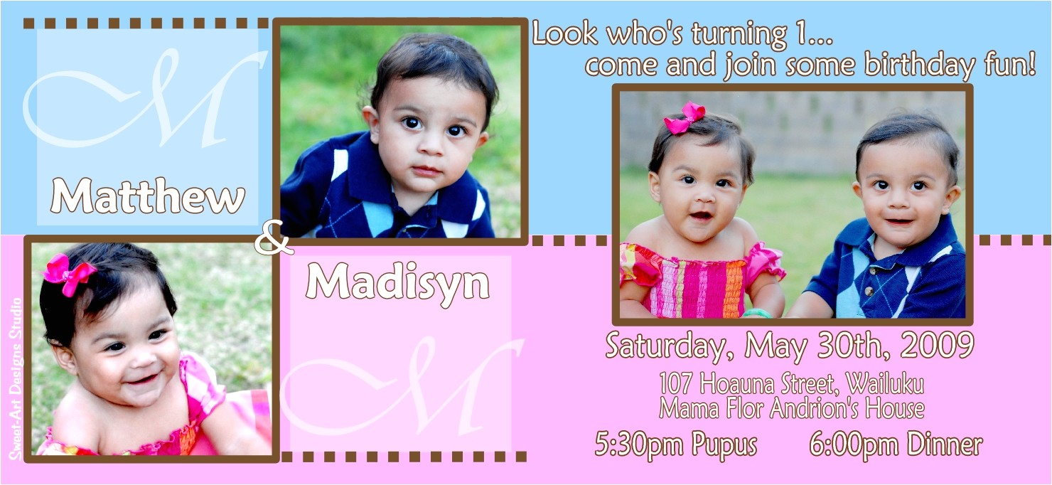 twins first birthday invitations template