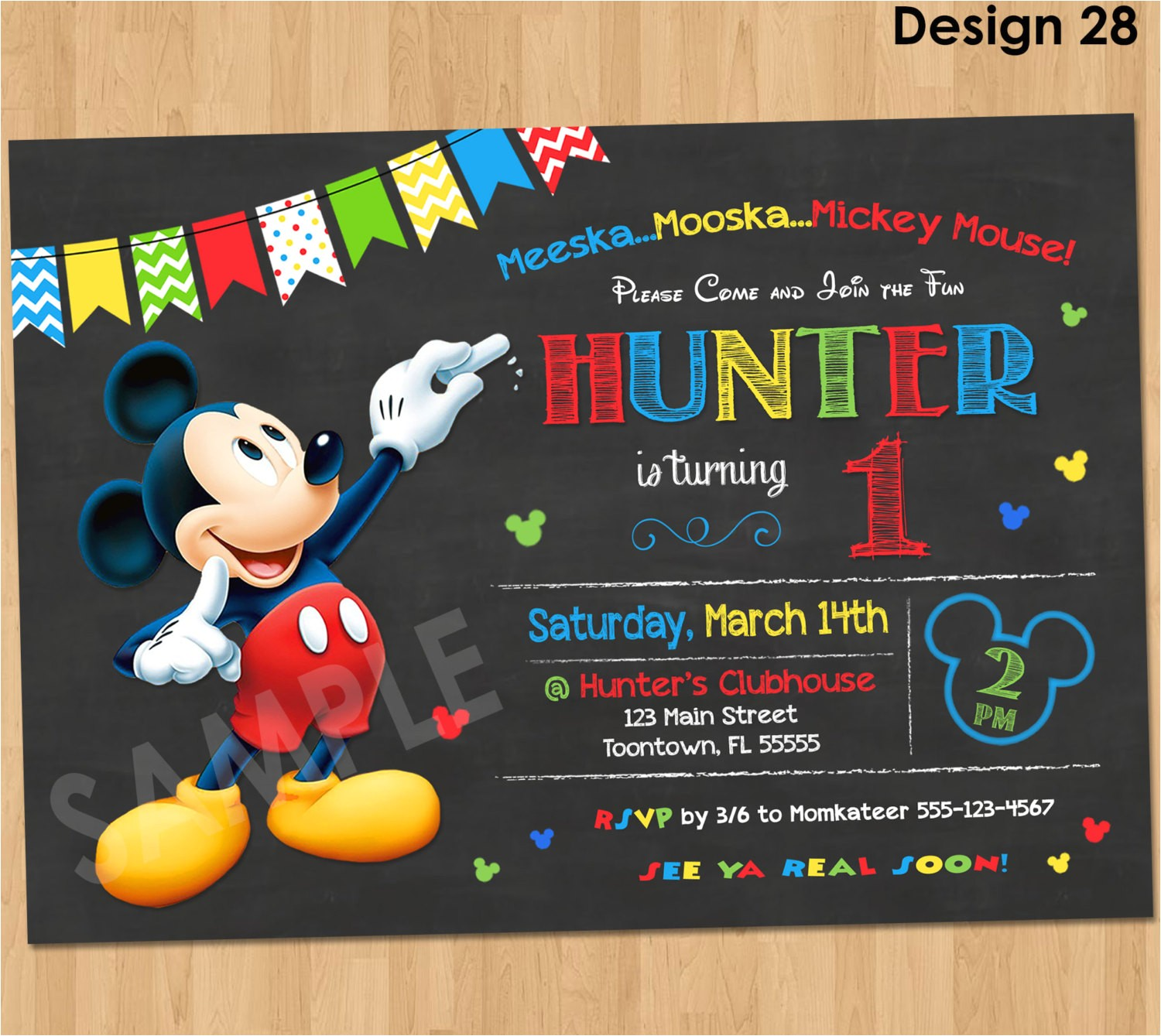 mickey mouse birthday invitation mickey