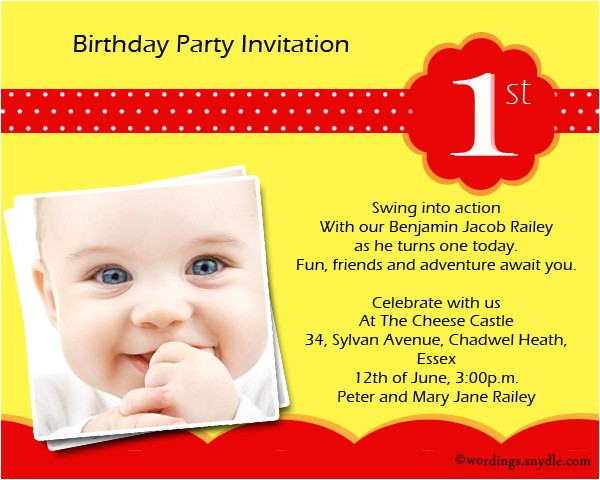 1st birthday party invitation wording