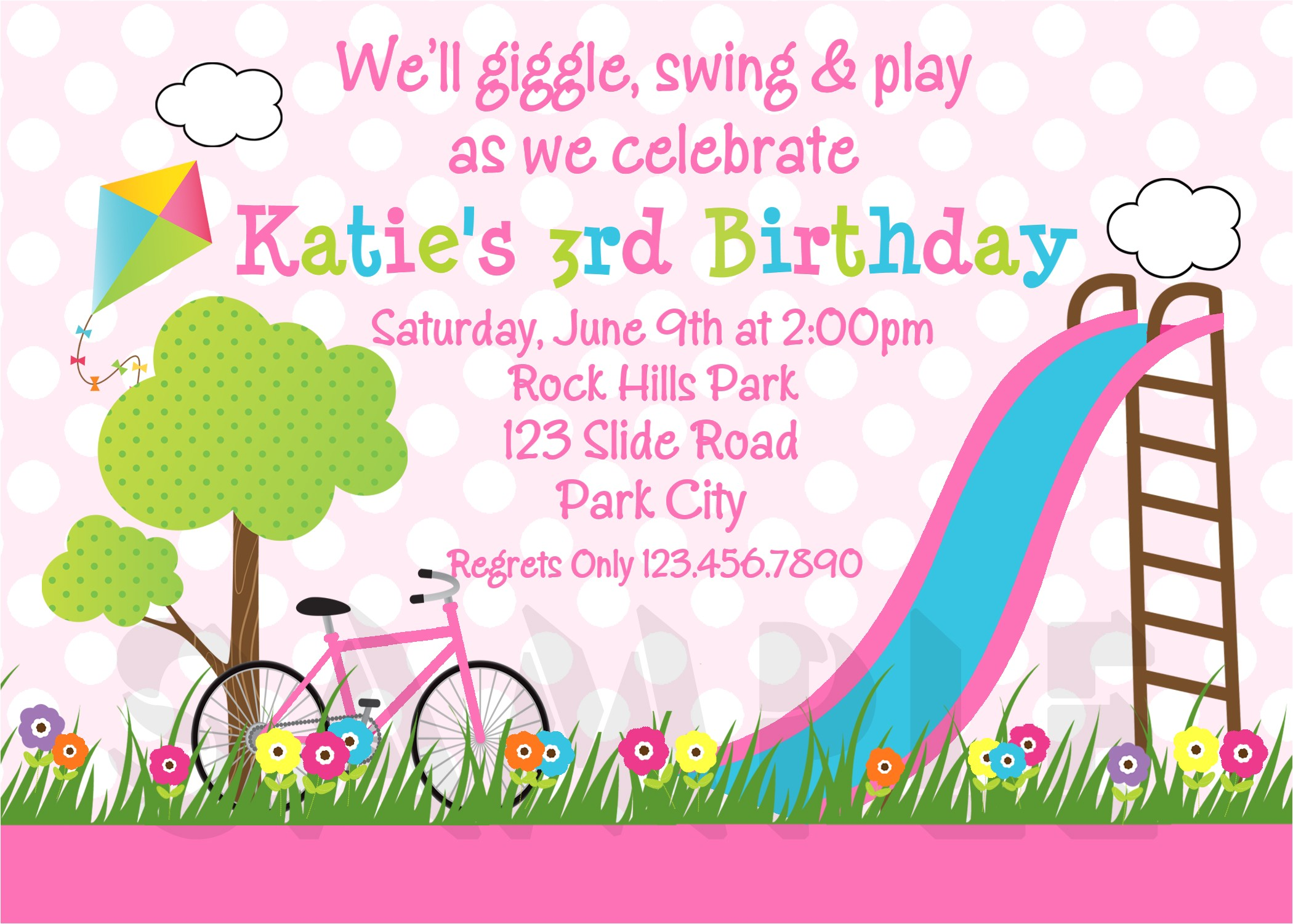 3 year old birthday party invitation wording