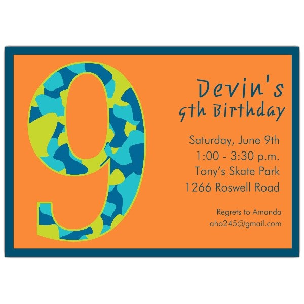 9 year old birthday invitation wording