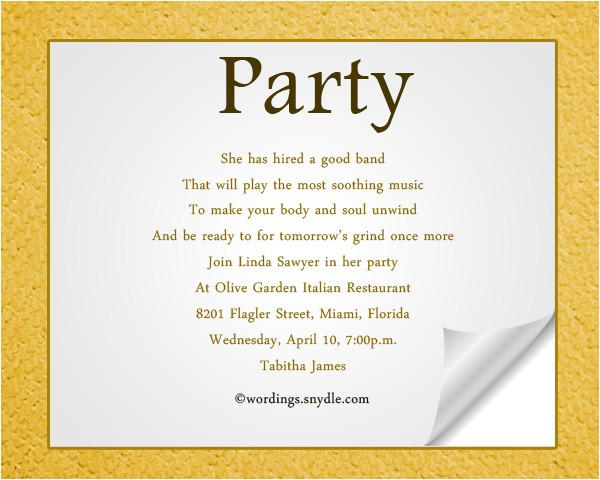 Birthday Invite Wording for Adults Adult Party Invitation Wording Wordings and Messages